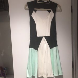 White blank and mint color blocked skater dress!